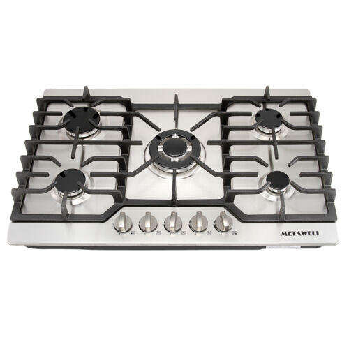 "Gas Cooktops 30"" Stainless Steel Hob 5 Burner Built in Stove"
