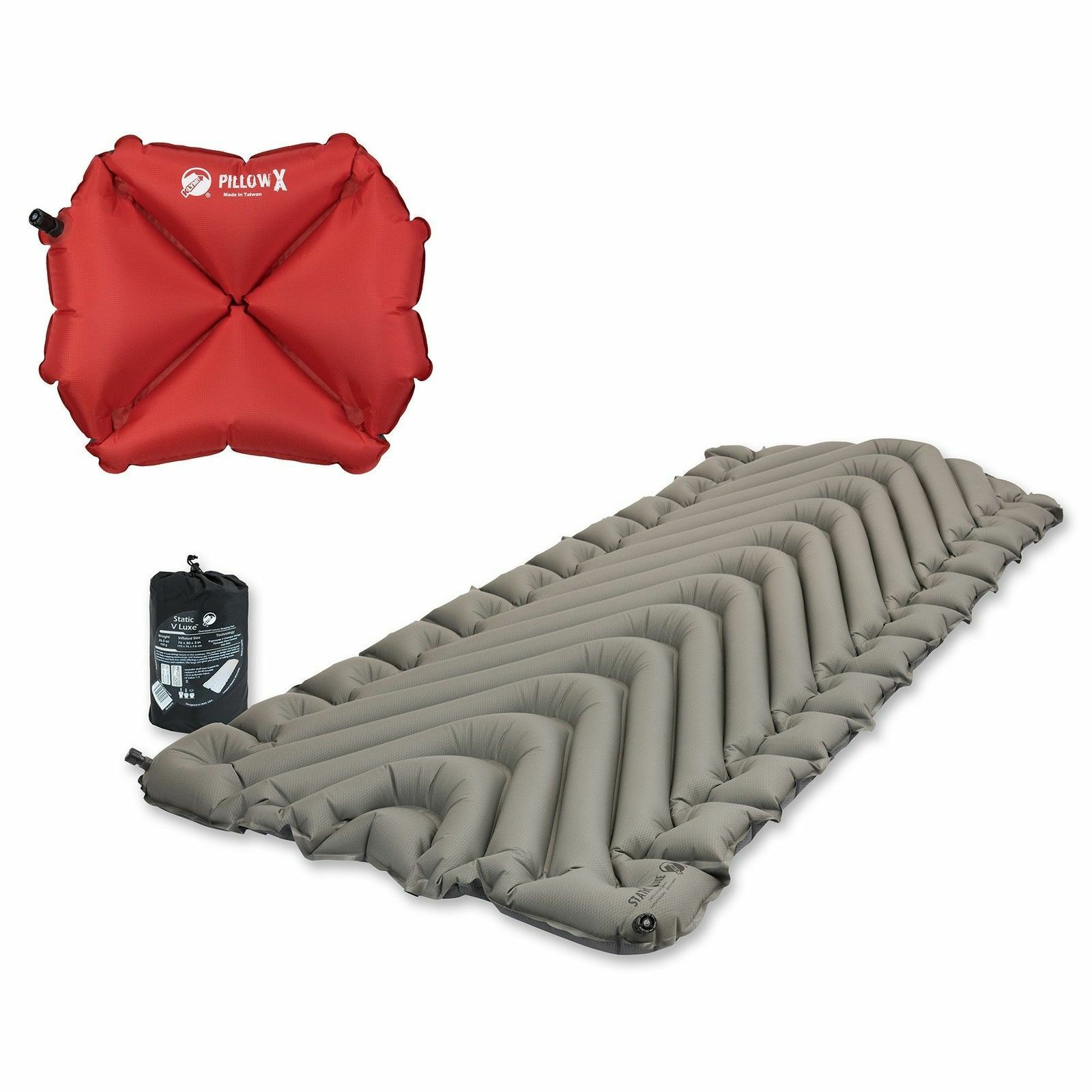 Klymit Static V Luxe Inflatable Sleeping Pad, Gray + Inflata