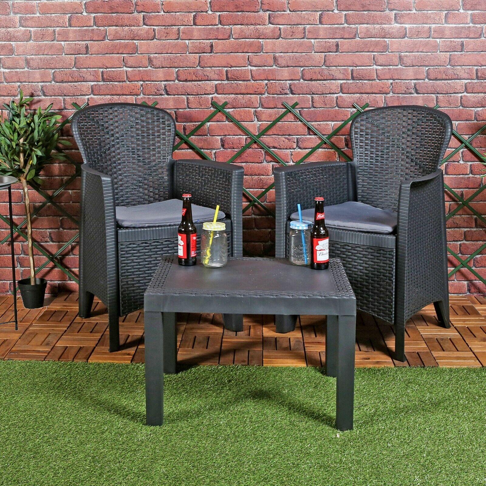 Garden Furniture - 3pc Outdoor Garden Furniture Cushioned Black Rattan Table Chair Conversation Set