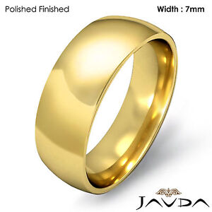 Details about Men's Wedding Band Plain Dome Comfort Light Ring 7mm 14k ...