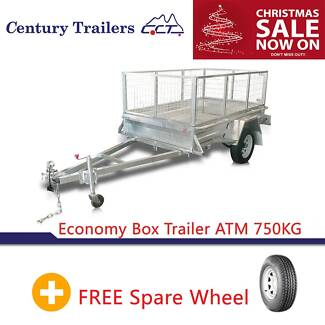 STOCK CLEARANCE! 8X5 Galvanized Box Trailer With 600mm Cage