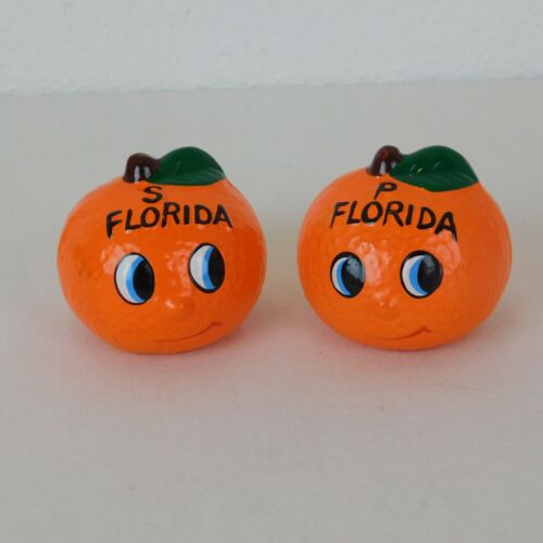"Smiling Oranges Salt Pepper Shaker Set Florida Souvenir Anthropomorphic 2.25"""
