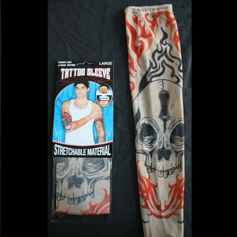 2(1pr)-Gothic Tribal SKULL TATTOO SLEEVES-Punk Skater Costume Accessory-KIDS Lrg