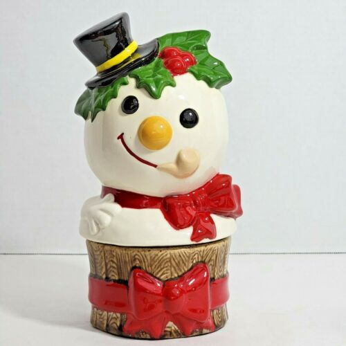Adorable Vintage Snowman Ceramic Cookie Jar 2PC Hand Painted Mold 1980