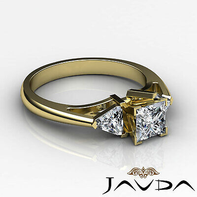 Trillion Cut 3 Stone Princess Diamond Engagement Ring GIA Certified I SI1 1.8 Ct 8