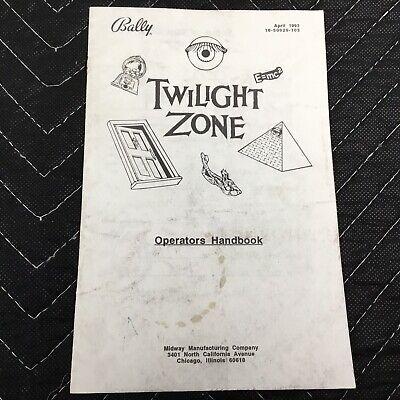 Bally Twilight Zone Pinball Machine Operators Handbook