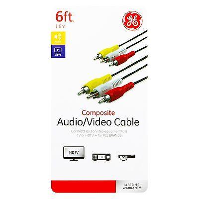 GE Composite Audio/Video Cable 6ft. Black 6 Composite Audio