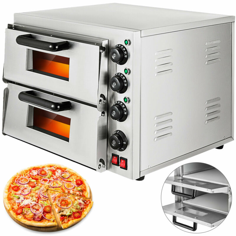 Electric 3000W Pizza Oven Double Deck Commercial Toaster Bake Broiler NEWEST
