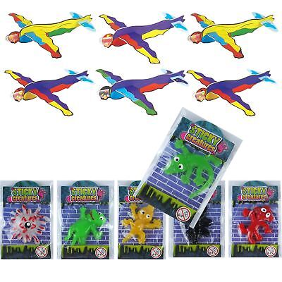 Party Bag Toys For Boys (Childrens 6 Gliders & 6 Sticky Toys Kids loot Party Bag Fillers Favours For)