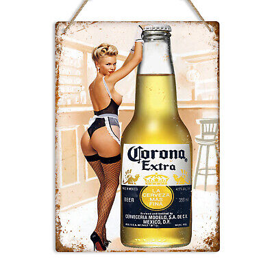 CORONA EXTRA Pin Up Girl Vintage Retro Metal Tin Wall Sign Man Cave Pub Bar Beer