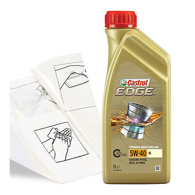Engine Oil Top Up 1 LITRE Castrol Edge 5W-40 M 1L +Gloves,Wipes,Funnel