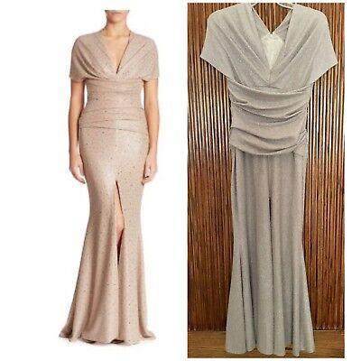 TALBOT RUNHOF Sahara Glitter Metallic Mermaid Old Hollywood Stretch Gown 10US 40