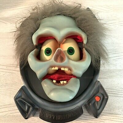 Gemmy Animated Halloween Skeleton Zombie Talking Sensor Wall Head Greeter RARE