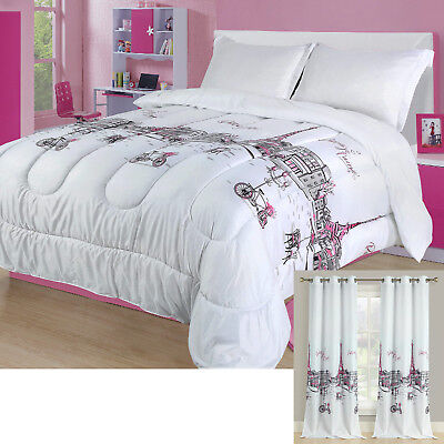 Girls Twin Bedding Sets - Twin, Full/Queen, or King Paris Comforter Bedding Set Pink Grey Eiffel Tower