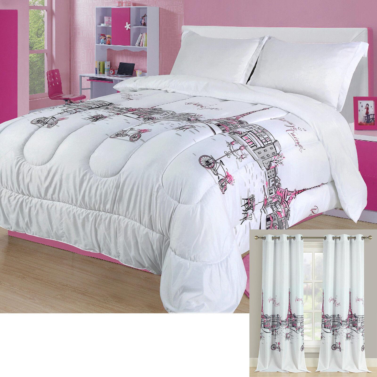 Twin, Full/Queen, or King Paris Comforter Bedding Set Pink Grey Eiffel Tower Bedding