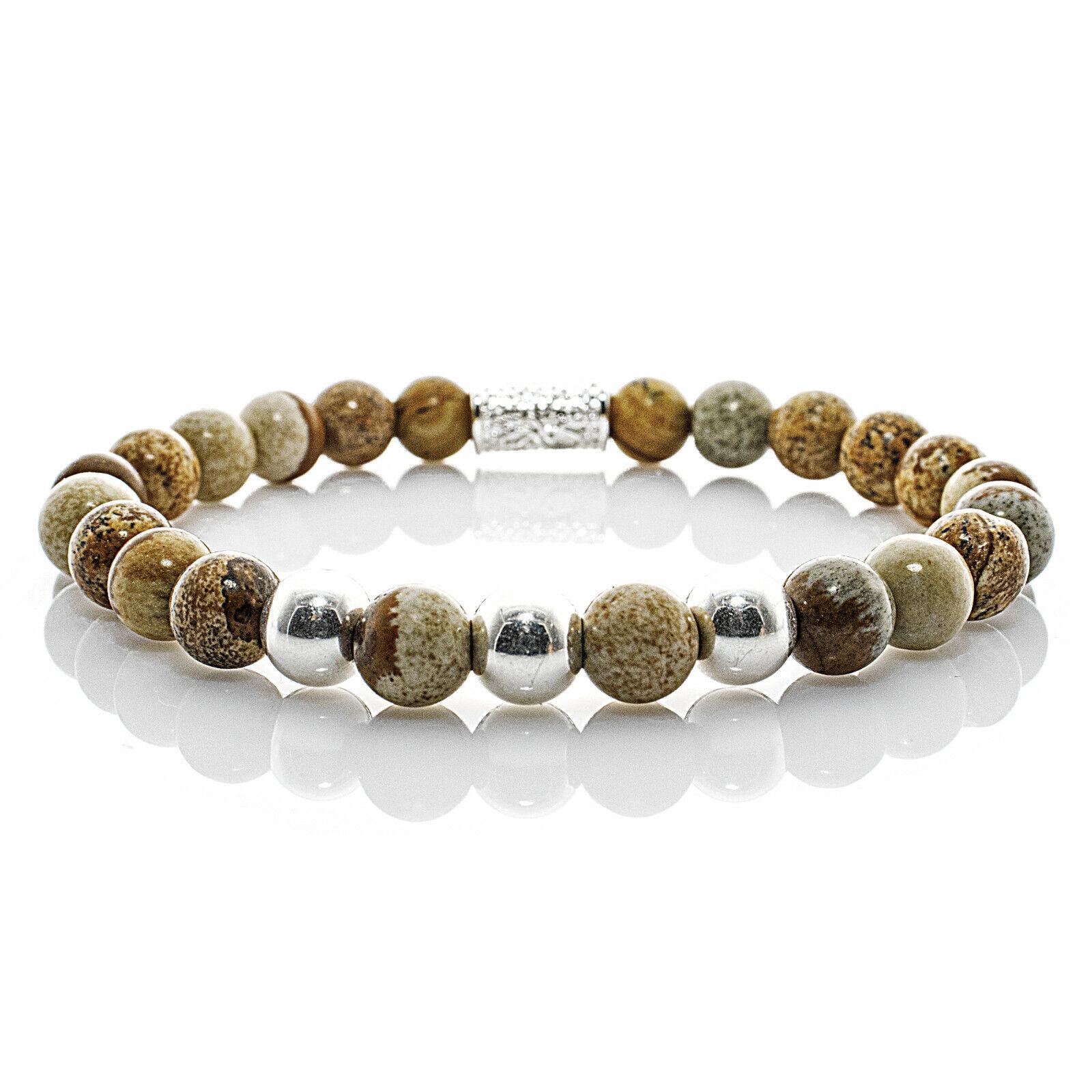 Jaspis Armband Bracelet Perlenarmband Beads Kugel silber beige 8mm Edelstahl