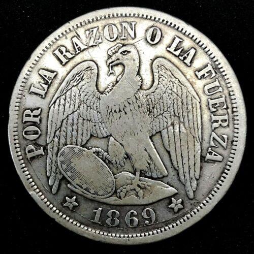 CHILE PESO - CONDOR SILVER CROWN - 1869  KM# 142.1 Rare !