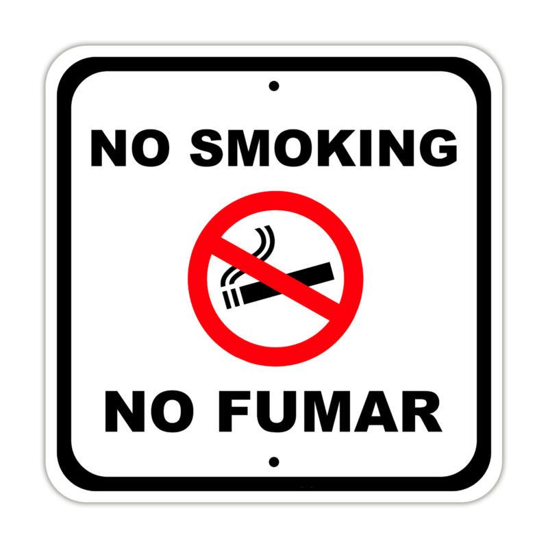 No Smoking No Fumar Warning Spanish Bilingual Aluminum Metal Sign