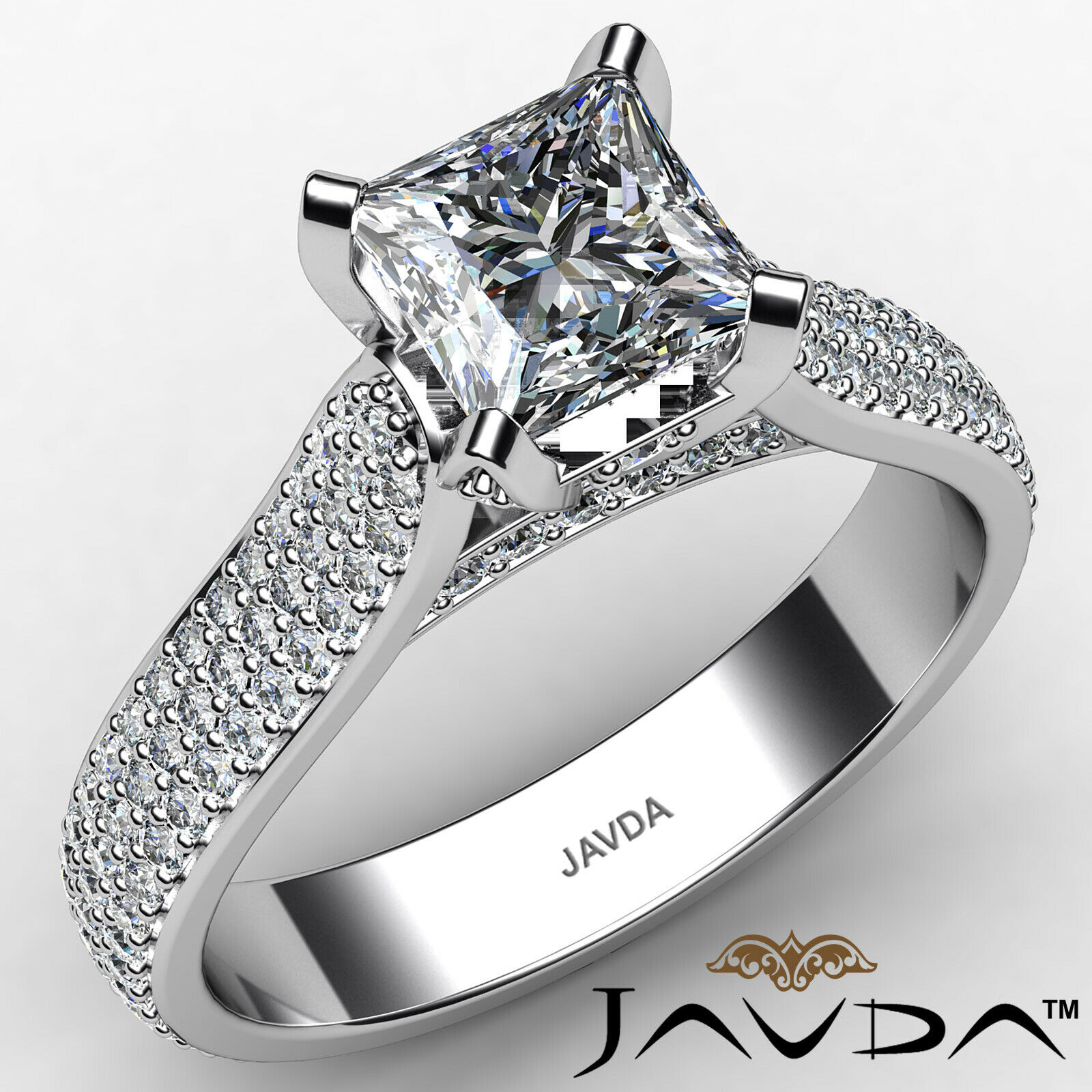 Princess Diamond Engagement Micro Pave Ring GIA E Color & SI1 clarity 1.95 ctw