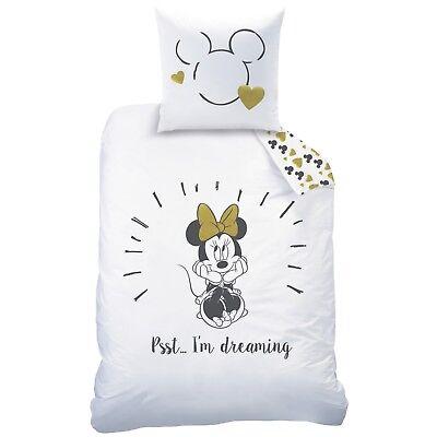 Disney Minnie Mouse / Minnie Maus Bettwäsche in weiß - 2 tlg 80x80 + 135x200