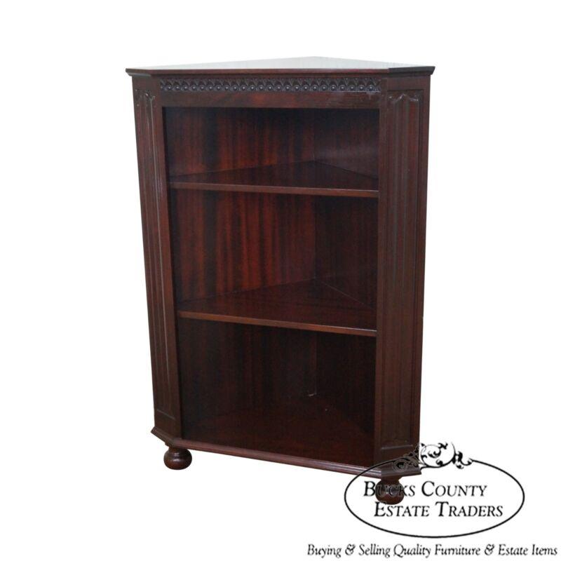 Quality Mahogany Corner Open Bookcase w/ Turned Feet