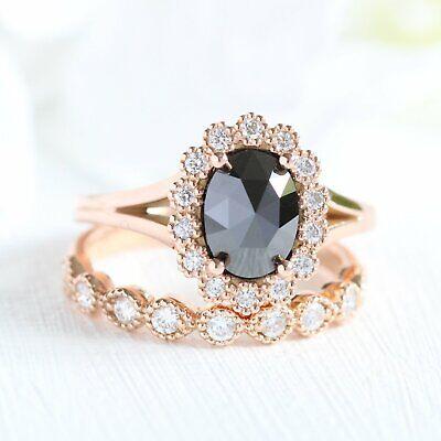 2Ct Oval Cut Black Diamond Bridal Engagement Wedding Ring 14K Rose Gold - Black Diamond Gold Wedding Rings