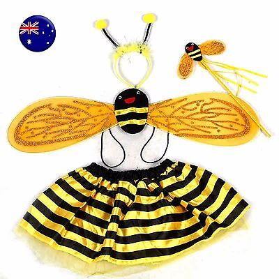 US Girl Kid Child Fancy Bee Ladybug Halloween Headband Skirt Costume Set Wing - Kids Bee Costumes