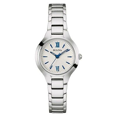 Bulova Quartz Women's Stainless Steel Bracelet Blue Hands 28mm Watch 96L215 Bulova Bangle Steel Ladies Watch