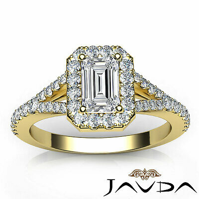 Halo Split Shank U Pave Set Emerald Shape Diamond Engagement Ring GIA H VS2 1Ct 10