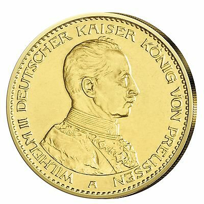 Kaiserreich Goldmünze 20 Mark Kaiser Wilhelm II. in Uniform 1913-1914 J.253