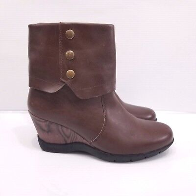 Sanita Brown Leather Ankle Boots Wedge Heel Rubber Sole Studs Sz 39 / -