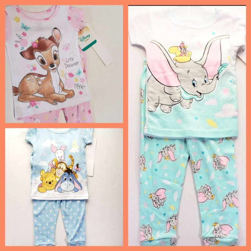 9 months Baby Girl Winnie the Pooh, Bambi & Dumbo Pajamas NEW Disney- 3 pairs