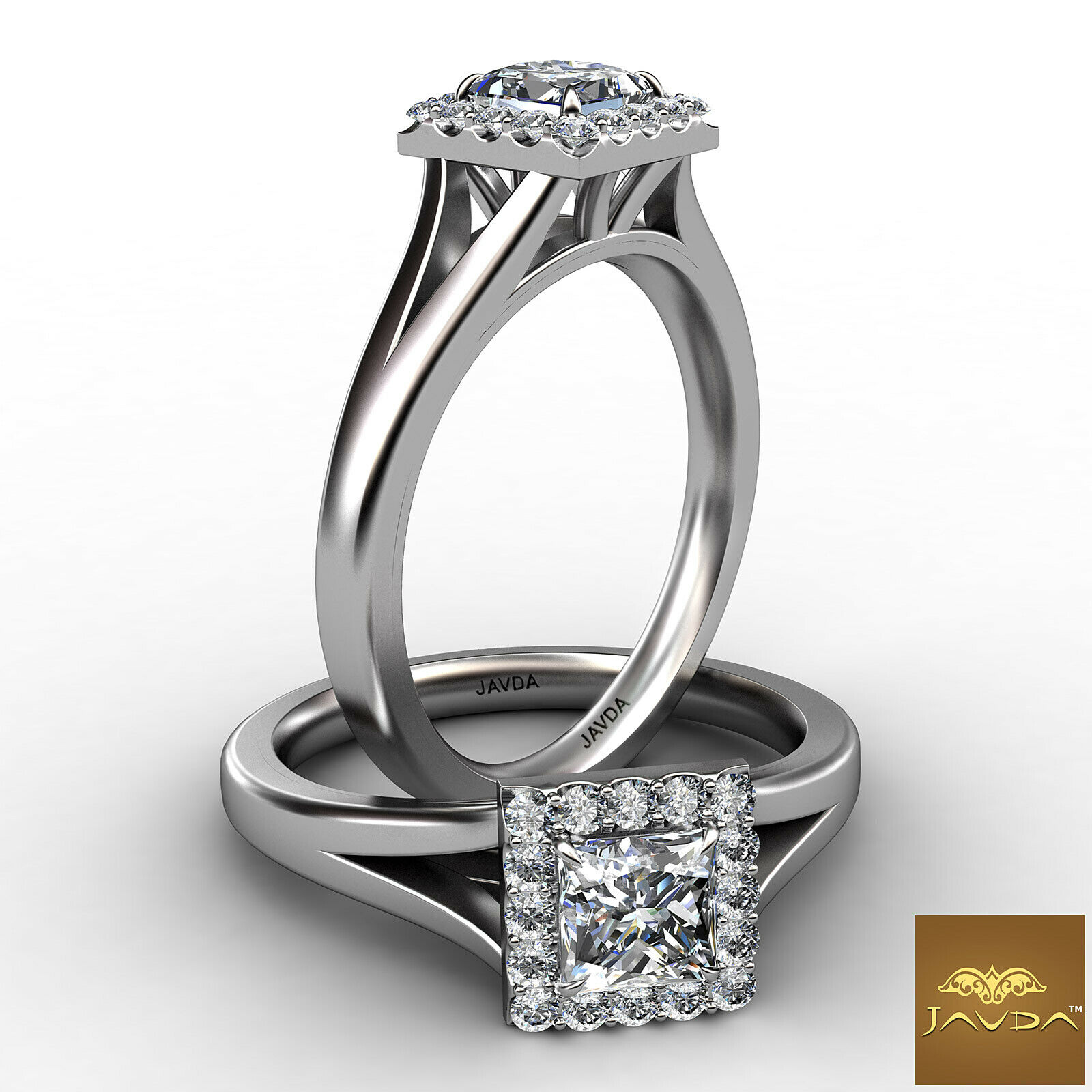 0.8ctw Comfort Fit Princess Diamond Engagement Ring GIA G-SI1 White Gold Rings