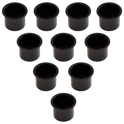 10 Aluminum Boat - Set of 10 Black Jumbo Aluminum Drop In Cup Holders For Poker Table and Boat