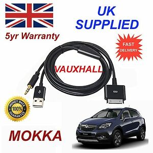 VAUXHALL-MOKKA-Series-para-Apple-iPhone-3gs-4-4s-amp-iPod-Audio-Cable-en-Negro