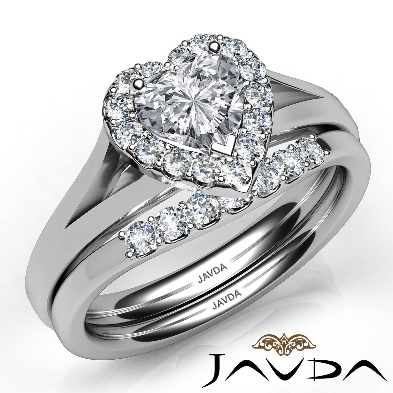 1.22ctw Pave Halo Bridal Set Heart Diamond Engagement Ring GIA G-VVS2 White Gold 1