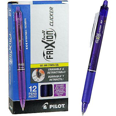 Pilot Frixion Ball Clicker 0.7 Retractable Erasable Purple Gel Ink Pen Bx Of 12