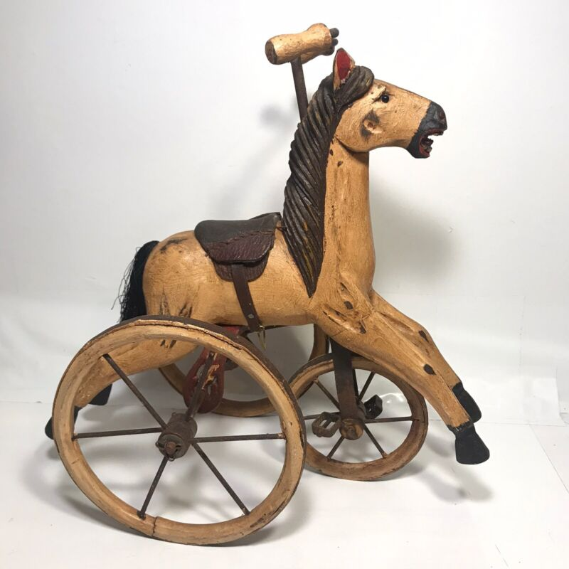 Vintage HandCarved & HandPainted Wooden Horse Tricycle Repro Victorian Toy 12""