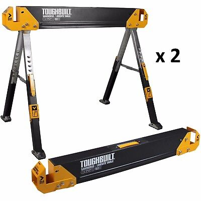New 2-Pack Toughbuilt Steel Folding Portable Saw Horse Pair Heavy-Duty SafeTool