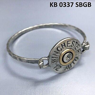 (Silver Finished WINCHESTER 12 AUTO Engraved Bullet Shell Design Bangle Bracelet)