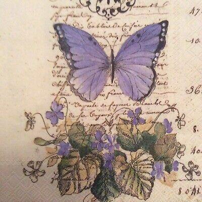 paper napkins decoupage x 2 vintage butterflies 25cm