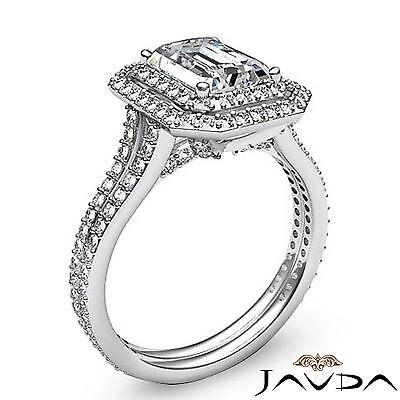Double Halo Pave Split Shank Emerald Diamond Engagement Ring GIA H VS2 2.6 Ct 1