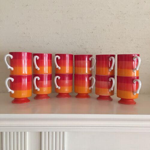 One Vintage Holt Howard 1966 MCM stackable orange red stripe mug cup