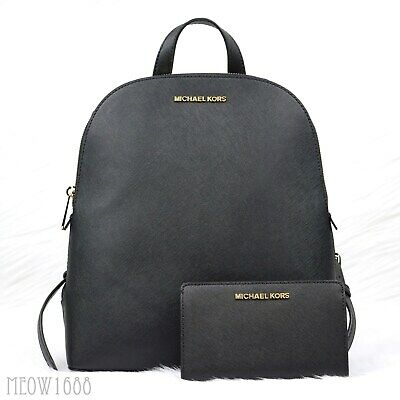 Michael Kors CINDY EMMY Black Saffiano Leather Backpack JET SET Bifold Wallet