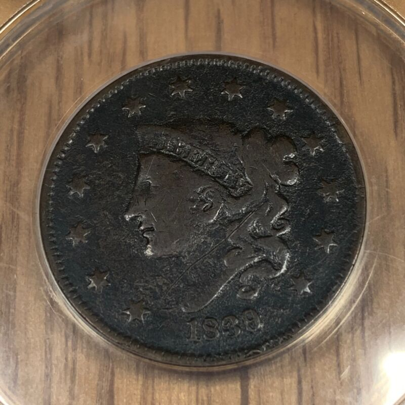 1839/6 Matron or Coronet Head Large 1¢ Cent - ANACS VG10 Details N-1 Corroded