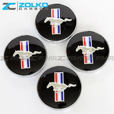 BLACK HORSE HUB WHEEL CENTER CAPS FOR  FORD MUSTANG COBRA GT 60MM EE07 4PC SET Mustang Wheel Caps
