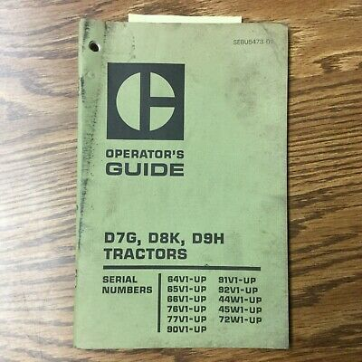 Cat Caterpillar D7g D8k D9h Operation Manual Tractor Dozer Operator Guide Book