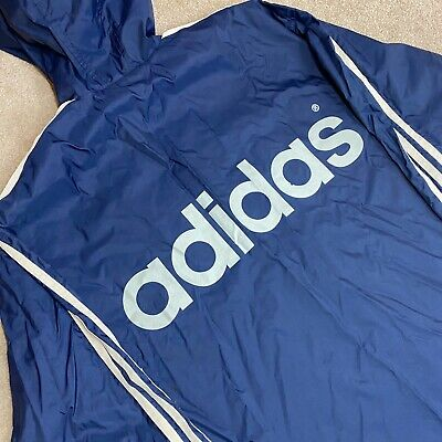 Adidas Hooded Jacket - Vintage 90s - Big Back Spell Out - Fits Oversized Large