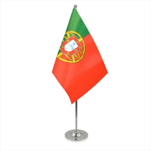 Portugal Satin & Chrome Premium Table Flag