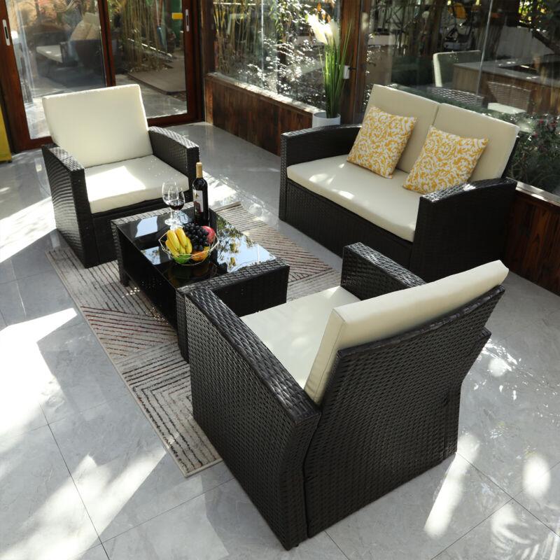 YITAHOME 4PC Patio Sofa Set Outdoor Sectional Furniture Conv